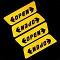 1 conjunto / 4 pcs 0pen carro etiqueta do carro porta adesivos de advertência aberto reflexivo adesivos decalques porta aberta adesivos de segurança