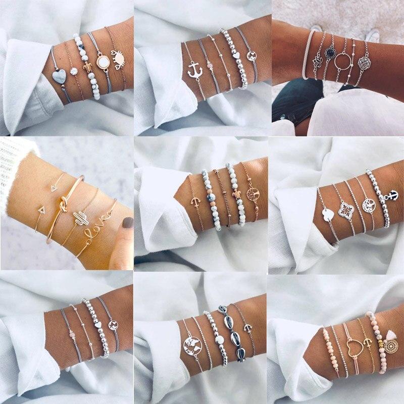 9 Styles Charmelry Bohemian Heart Map Turtle Bracelet Set  Retro Bracelets & Bangles Beads Statement Female Glamour Jewelry Gift