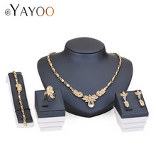 AYAYOO Pendant Imitation Crystal Statement Necklace Earrings Accessories African Beads Jewelry Sets For Women Wedding Bridal Set