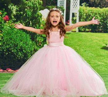 New Coming Simple Design Pink Tulle Flower Girl Dress with Ribbon Keyhole Back Ankle Lenght Cheap Girls Pageant Gowns Sleeveless