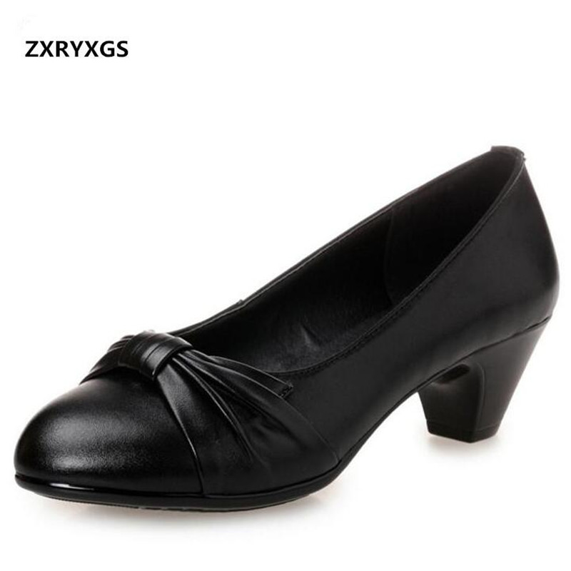 High Quality cow Leather Shoes Women Shoes High Heels 2019 New Large Size Comfort Wedding fashion