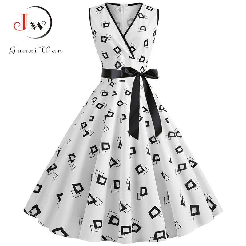 Plus Size Women Dress 2020 Summer Casual Sleeveless V Neck Print Slim Office Party Dress Dresses Elegant Vintage Vestidos Robe 1