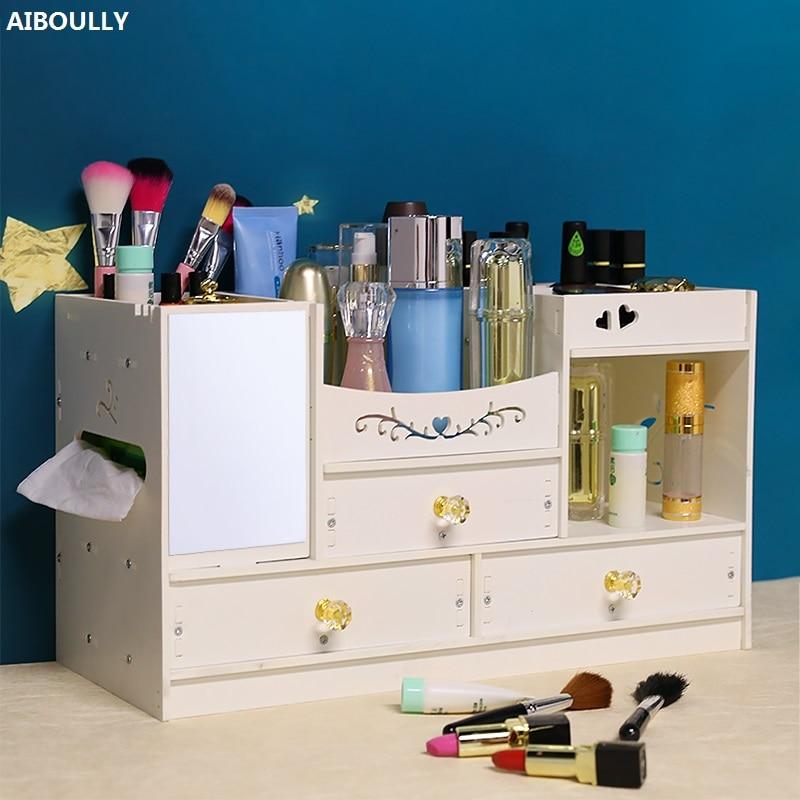 Z tworzywa sztucznego z drewna stół biurowy pudełko do przechowywania pudełko z biżuterią pojemnik makijaż organizator Case Handmade DIY montaż kosmetyczne organizator w Skrzynki i pojemniki od Dom i ogród na  Grupa 1