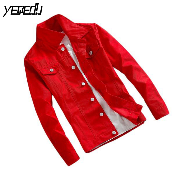#3403 Spring 2020 Slim Casual Denim Jacket Men Short Windbreaker Bomber Jacket Unisex Jeans Coat Black/White/Red Streetwear