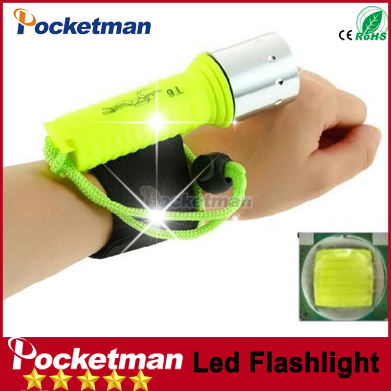 zk40 Free shipping T6 LED Green Diving Flashlight 2100LM Underwater Scuba Dive Torch Flash Light Lamp For Diving Waterproof