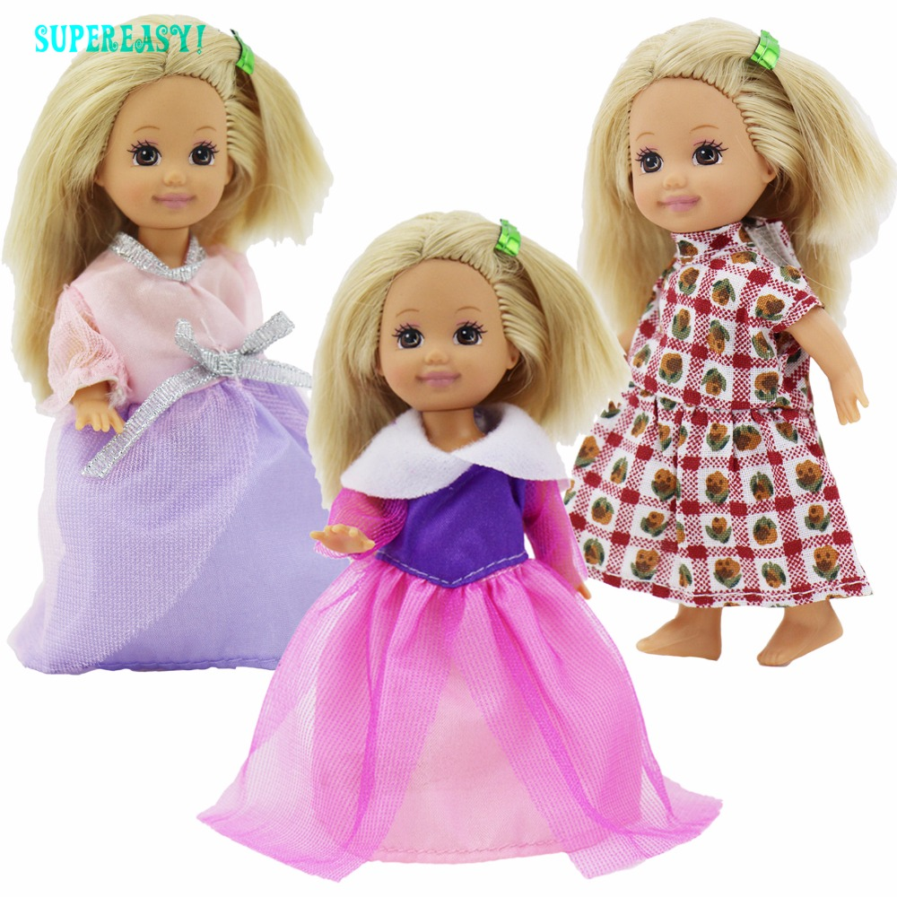 Random 5 Set Cute Mini Outfit Blouse Trousers Pants Uppers Bottoms Dress Clothes For Barbie Sister Kelly Size Doll Kid Toys Gift random 10 items   fashion 5 outfit   5