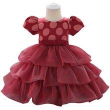 Baby Girl Dress Polka Dot Short Sleeve Bow Party Children Princess Pettiskirt 0-24M