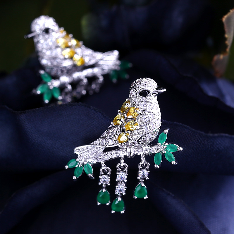 better new mix color bird and Cubic Zircon Stud Earrings for Women gift with free shipping стоимость