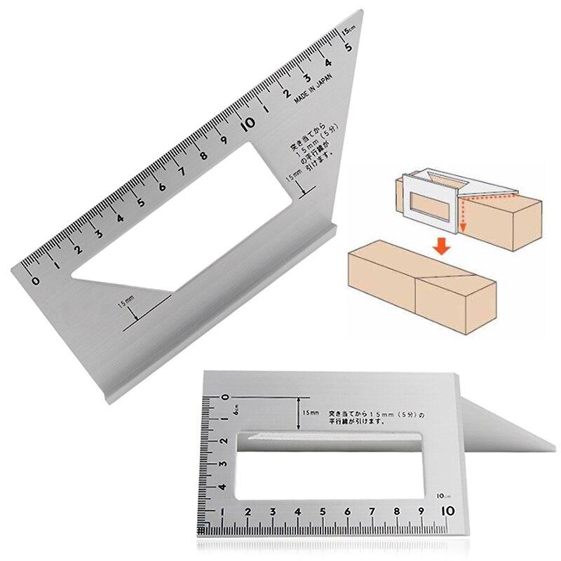 Medidor cuadrado de aleación de aluminio 45 grados 90 grados transportador regla angular para carpintero herramientas de medición de carpintería