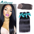 Malaysian Straight Hair 3 Bundles With Lace  Closure Malaysian Virgin Hair With Closure Human Hair Alidoremi Straight Hair