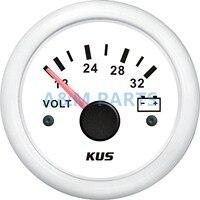 KUS Marine Batterie Spannung Gauge Boot Batterie Volt Anzeige Weiß Palette 18 32V 52mm Arbeits Volt 24V|indicator voltage|indicator gaugeindicator battery -