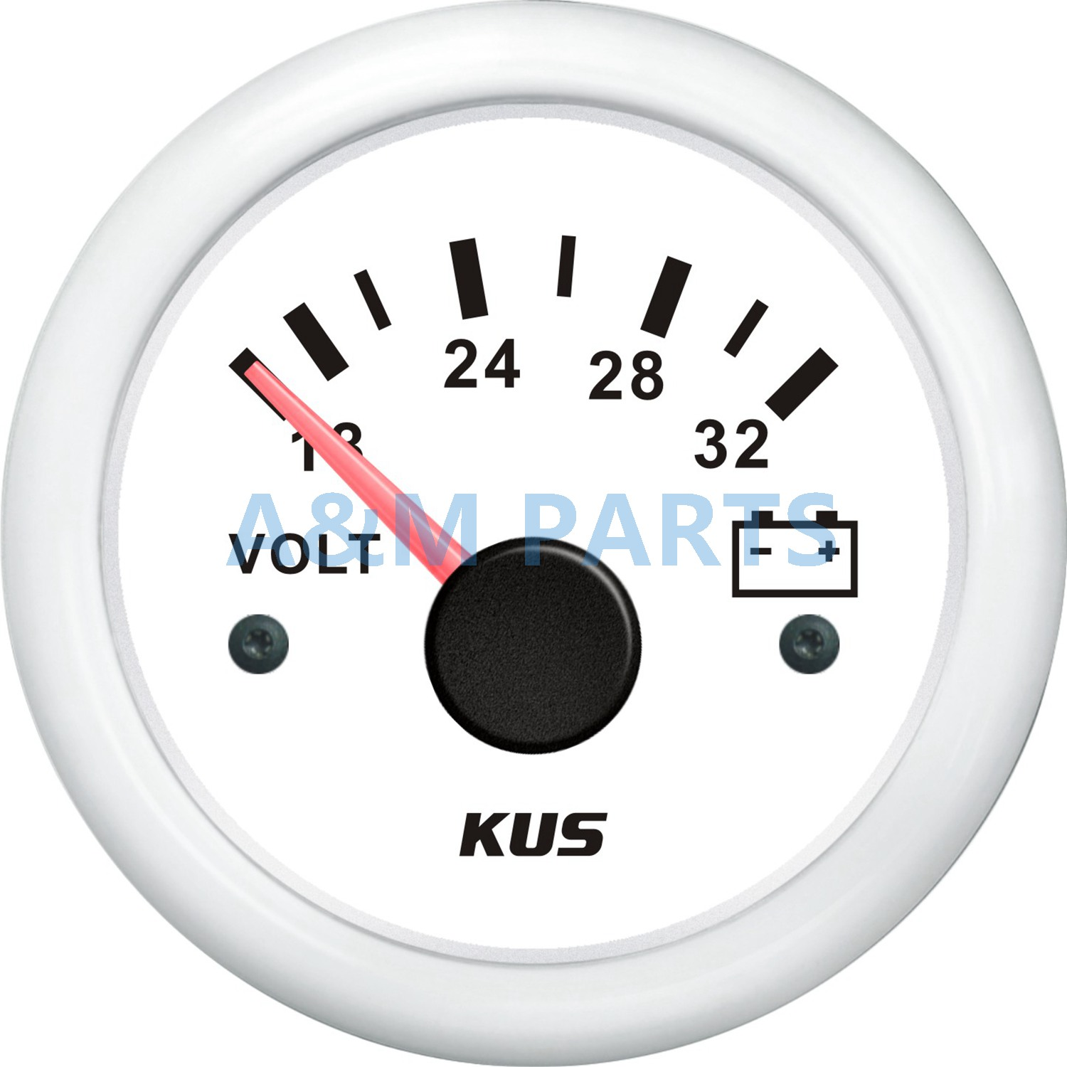 KUS Marine Battery Voltage Gauge Boat Battery Volt Indicator White Range 18 32V 52mm Working Volt 24V