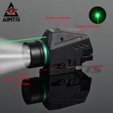 AIMTIS тактический светодиодный светильник-вспышка зеленый/красный лазерный прицел для 20 мм рельсовый мини-пистолет Glock светильник lanterna страйкбол светильник