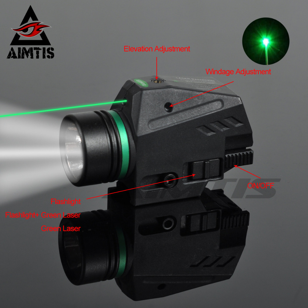 AIMTIS Tactical LED Flashlight Green / Red Laser Sight For 20mm Rail Mini Glock Pistol Gun Light Lanterna Airsoft Light