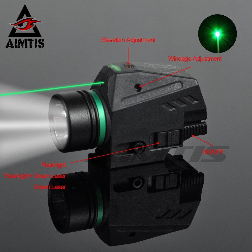 AIMTIS Tactical Lanterna LED Verde/Red Mira A Laser Para 20 milímetros Ferroviário Mini Pistola Glock Pistola de Luz lanterna Airsoft luz