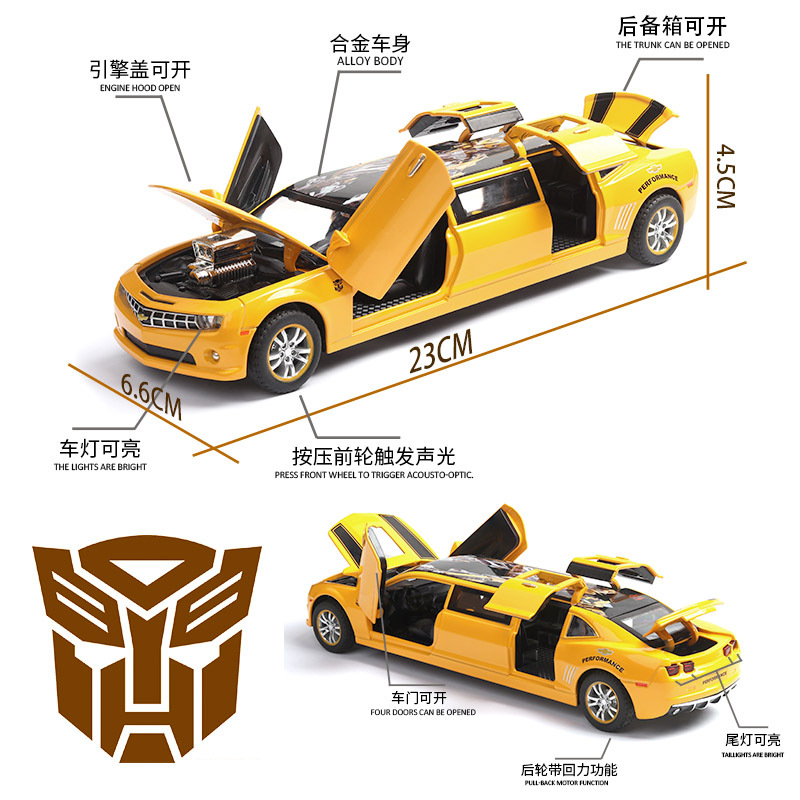 1 32 Extended Chevrolet Sound and light belt pull back vehicle simulation alloy car model crafts decoration collection toy tools in Diecasts Toy Vehicles from Toys Hobbies