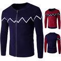 2016 New Men Striped Sweater 2016 Famous Brand navy blue/red Cardigans Zipper Turtleneck Knitted Cardigan Masculino