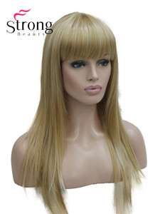 Image 2 - StrongBeauty Long Straight Ash Blonde with Light Blonde Highlights Synthetic Wig Womens Hair wigs