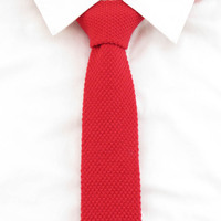 100% Wool Men's red tie Solid Slim flat Ties For Men leisure knitted necktie wedding Party Accessories Christmas Gifts Gravata