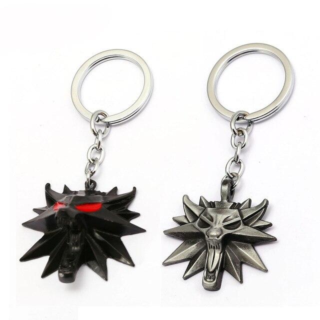 New The Witcher 3 Keychain Wolf Head Matel Key Chain