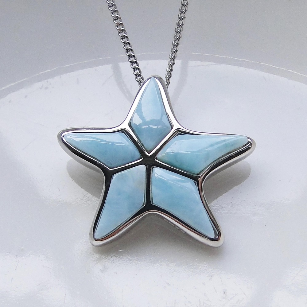 New Design 925 Sterling Silver Larimar Pendants Fine Starfish pendant with Natural Larimar Pendant for women without Chain