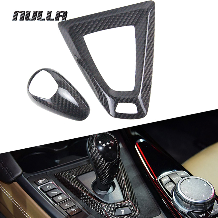 NULLA Carbon Fiber Gear Shift Knob Sticker Cover Surround Panel Frame for BMW M2 F87 M3 F80 M4 F82 E60 F10 M5 M6 F85 X5M
