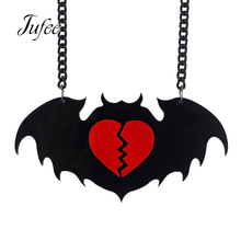 Jufee  Steampnk Style Gothic Black Acrylic Necklace Lovely Bat Pendant Necklace with Red Heart For Women Collier Femme