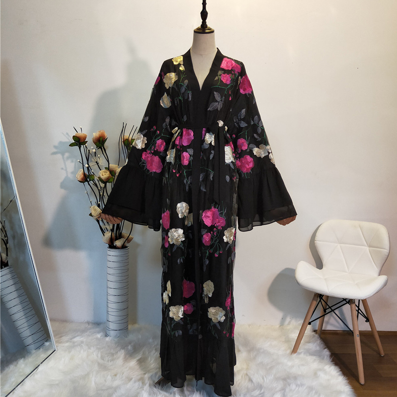 Ramadan Kimono Abaya Robe Femme Dubai Cardigan Muslim Dress Women Kaftans Caftan Marocain Qatar Elbise Turkish Islamic Clothing