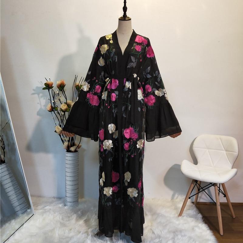 Ramadan Kimono Abaya Robe Femme Dubai Cardigan Muslim Dress Women Kaftans Caftan Marocain Qatar Elbise Turkish Islamic Clothing