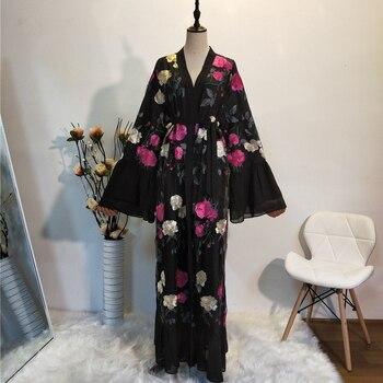Ramadan Kimono Abaya Robe Femme Dubai Cardigan Muslim Dress Women Kaftans Caftan Marocain Qatar Elbise Turkish Islamic Clothing muslim open abaya dress elegant cotten linen lace cardigan long robe kimono jubah ramadan arabic turkish islamic prayer clothing