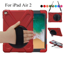 360 Degree Swivel Stand for iPad Air2, 3-Layer Drop Protection Rugged Protective Heavy Duty Cover 6 9.7 inch+Hand strap