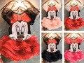 Девушки устанавливает двух частей Мультфильма Комплект Одежды футболка и туту юбка Дети Малышей Детские Девушки Минни Маус Комплект Одежды Детей летом