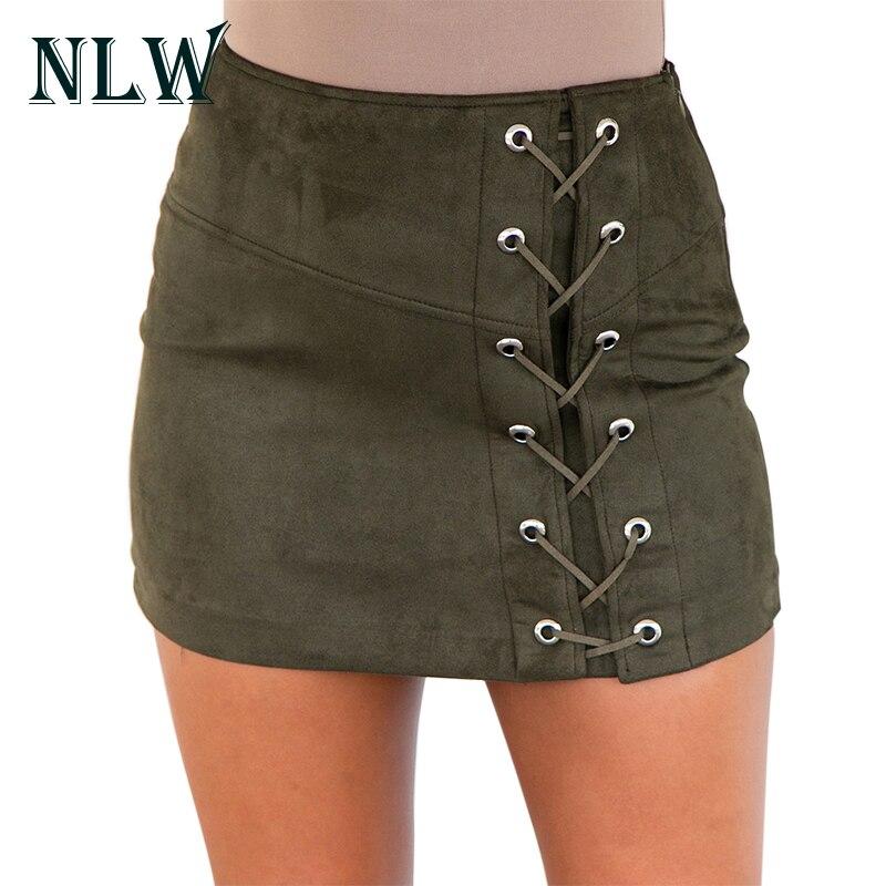 Detalle Comentarios Preguntas sobre Nlw verde Suede cuero lápiz Faldas sexy  Encaje cremallera Pantalones alta cintura corto Faldas Otoño Invierno 2017  ... 0c28a55adb0e