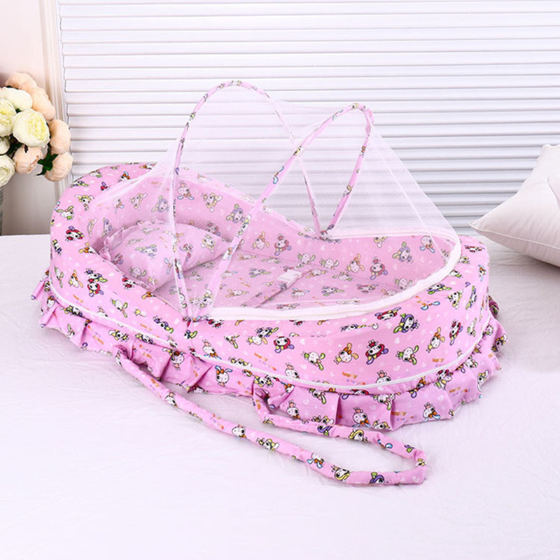 0-24 Months Baby Bed With Mosquito Net Portable Baby Crib Game Cotton Folding Bed With Cover Portable Baby Cot Baby Crib
