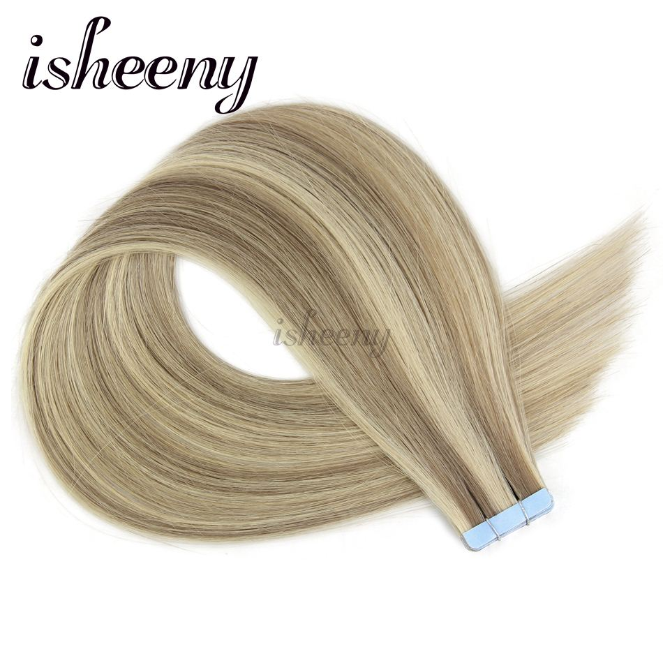 isheeny 14-22 Straight European Skin Weft 100% Human Hair Extensions P18/613# Double Sided Tape Remy Hair European Salon Style