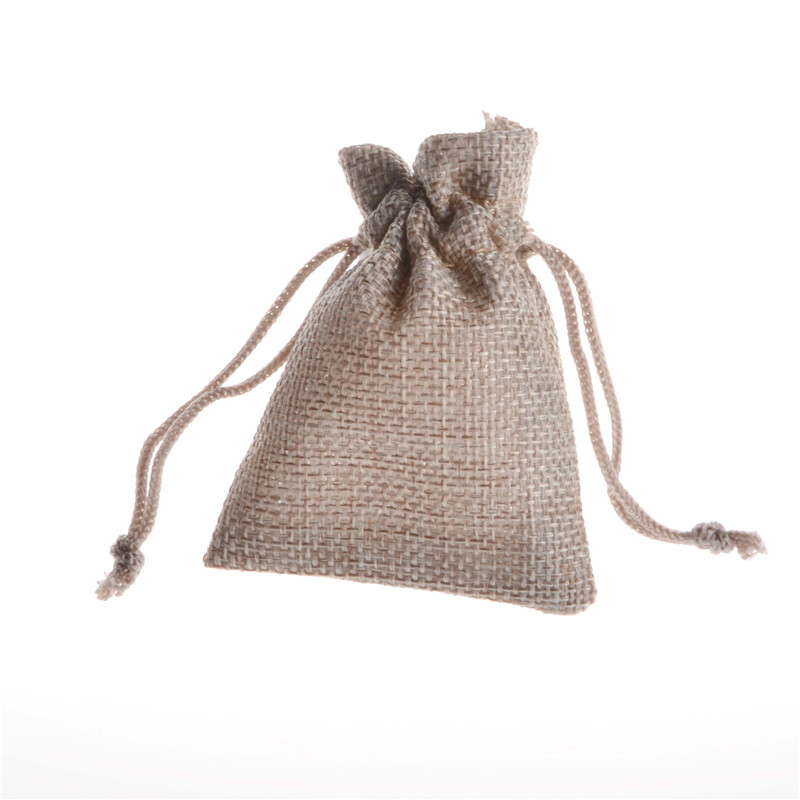 Handmade Jute Burlap Jewelry Bag Candy Rings Tea Holiday Drawstring Pouches Wedding Sack Favor Small Sachet Gift Package Bag