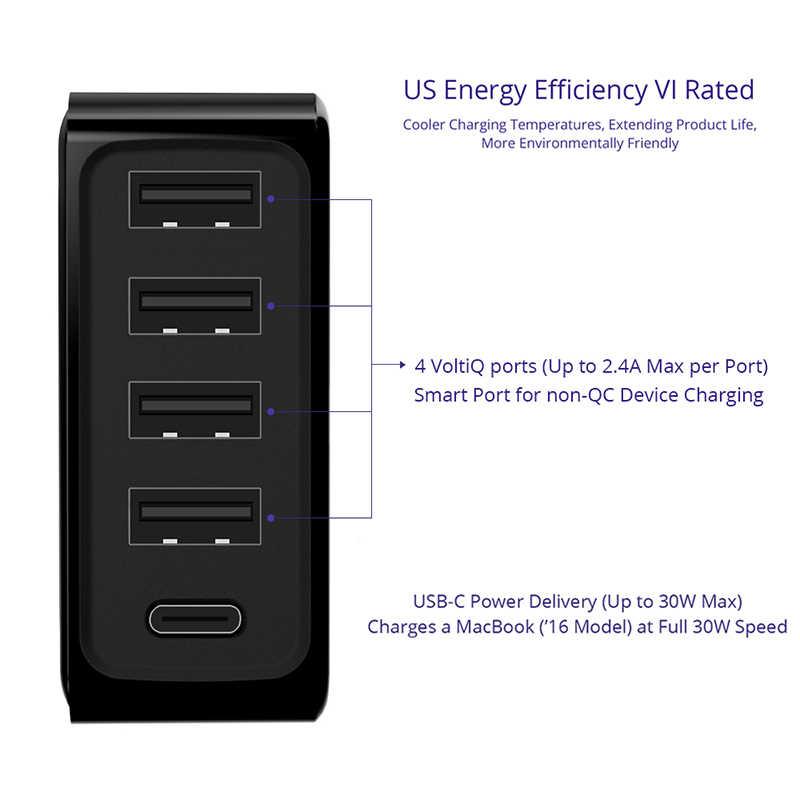 Tronsmart 5-Port شاحن usb pd U5P السريع شاحن 60 واط USB-C والتسليم السريع شاحن الطاقة لسامسونج غالاكسي s9 ، s9 زائد ، iphone x