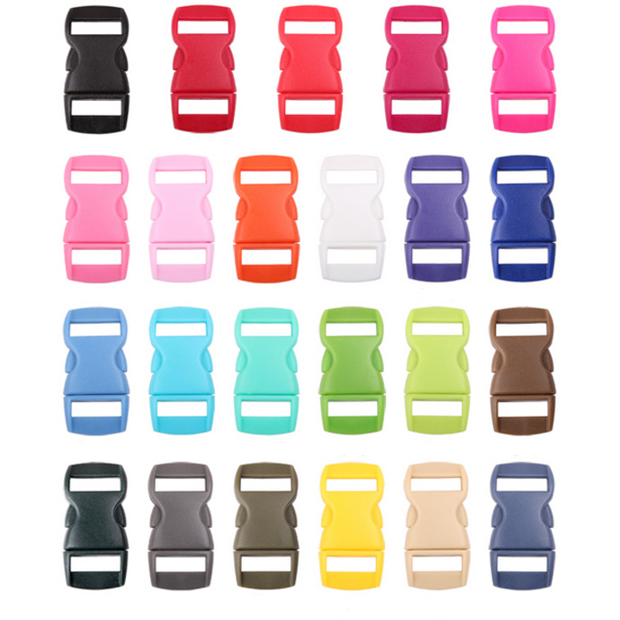 """8500PCS Colorful 3/8"""" Plastic Side Release Buckle Parachute 550 Cord Paracord Bracelet Curved Dog Collar Strap Bag Accessories-in Buckles & Hooks from Home & Garden    1"""