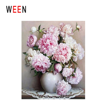 WEEN Blooming Peony Diy Painting By Numbers Flower Vase Oil On Canvas Cuadros Decoracion Acrylic Wall Art For Home Gift