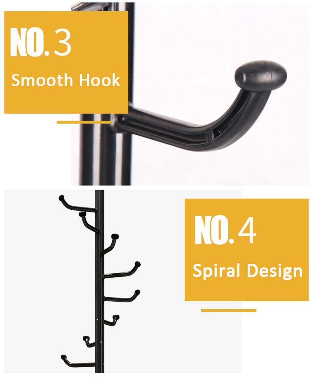 Multifunction Coat Hat Metal Rack Organizer Hanger Hook Stand for Purse Handbag Clothes Scarf with L-Shaped Hooks Tripod Base