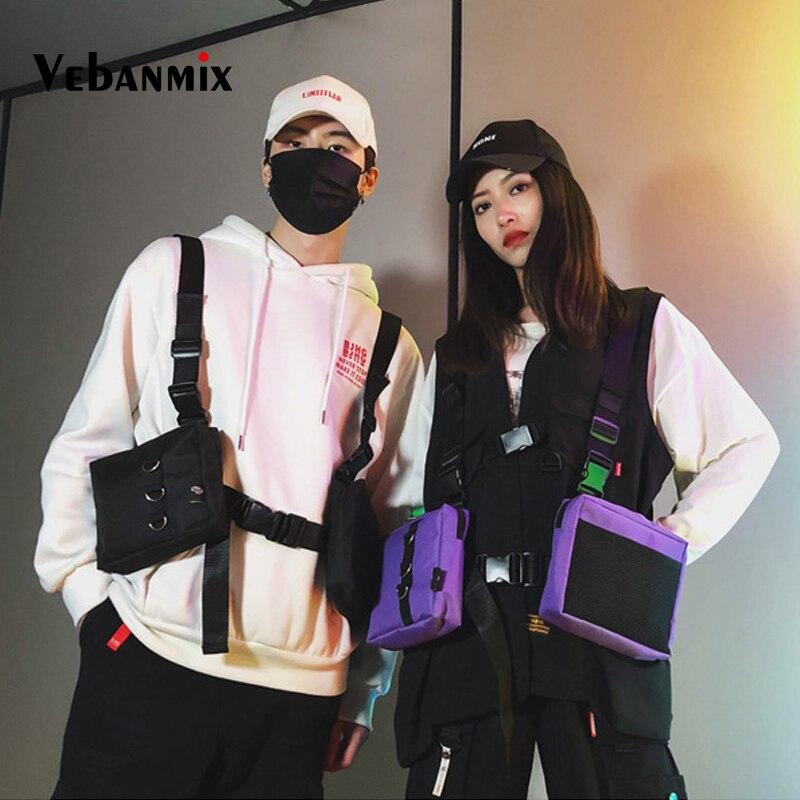 Fashion Hip Hop Streetwear Men Tactical Chest Rig Multi-pockets Waistcoat Chest Bag Vest Functional Waist Packs Bag Kanye West