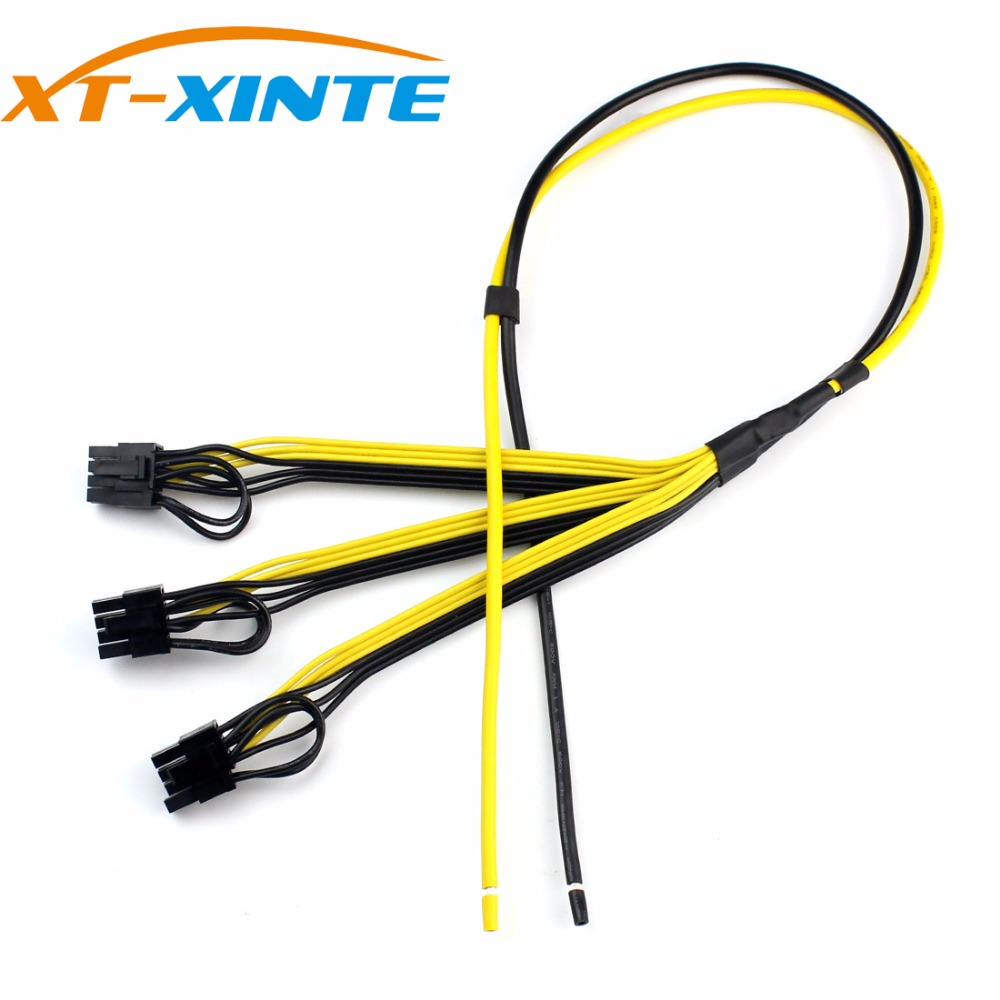 XT-XINTE Power Supply Cable 6+2 Pin Card Line 1 to 3 6pin+ 2pin Adapter Cable 12AWG+18AWG Splitter Wire for Miner Mining BTC 1meter red 1meter black color silicon wire 10awg 12awg 14awg 16 awg flexible silicone wire for rc lipo battery connect cable