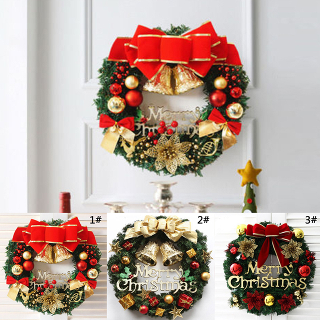 1pc Christmas Wreaths Bow Bell Garlands Merry Christmas Decoration