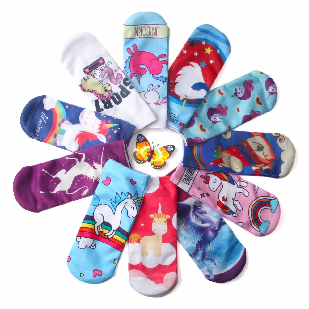 2018 New Fashion 3D Printing Boys Girls Fashion Pink Unicorn Socks Birthday Gift Calcetines Cotton Low Cut Socks Funny 3d print unicorn socks girls kawaii ankle licorne chaussette femme calcetines mujer cute emoji art happy kids long cotton socks