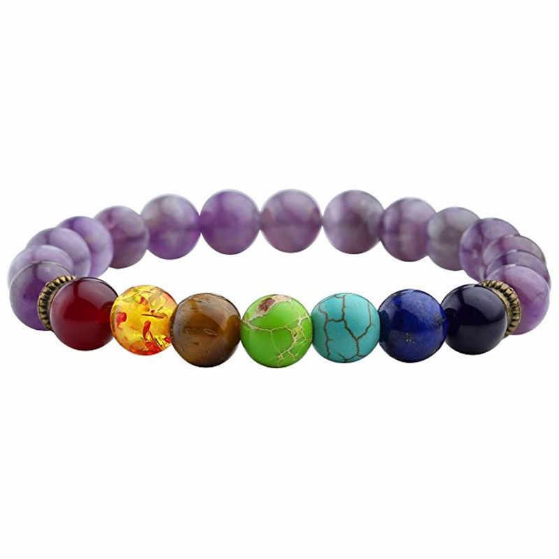 7 brazaletes con piedras naturales de Chakra pulsera de cuentas de Lava negra mujer hombres equilibrio Yoga joyería pulseira feminina oración de Buda