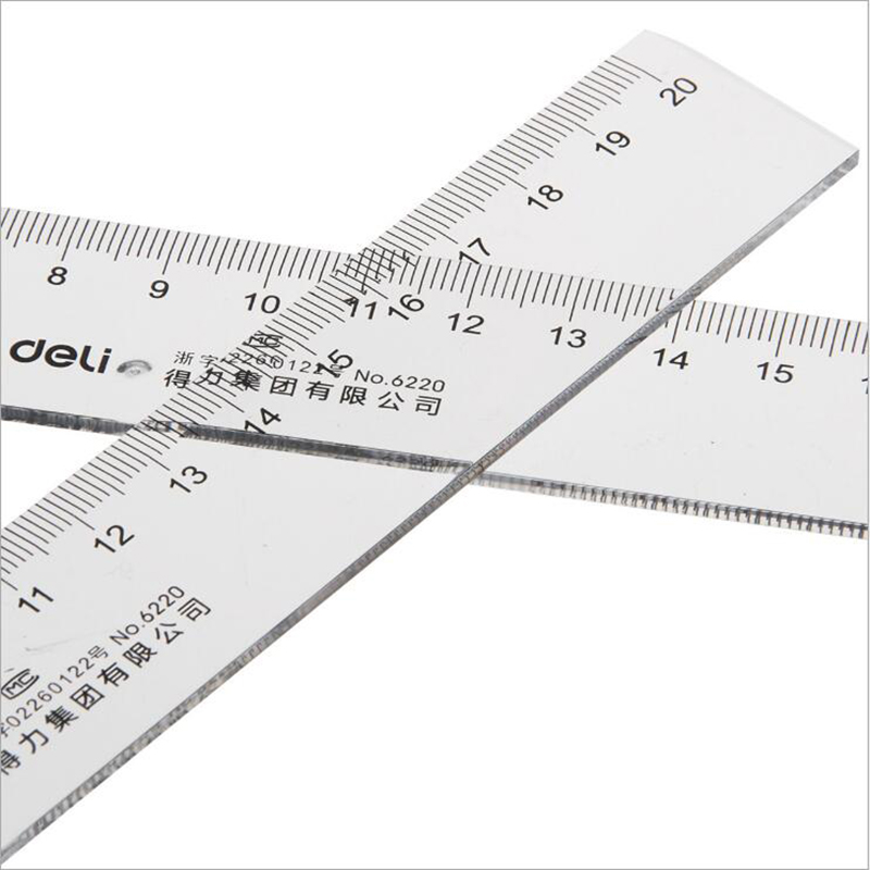 1pc 300mm/ 200mm Cm Color Transparent Plastic Straight Ruler Process Drawing Students' Stationery School Office Stationery