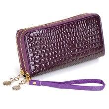 1d47eabdcd844 Mode Frauen Lange Geldbörsen Einfarbig Krokodilleder Muster  Doppel-reißverschluss Damen Brieftaschen Kupplung Geldbörse Karte Ta.