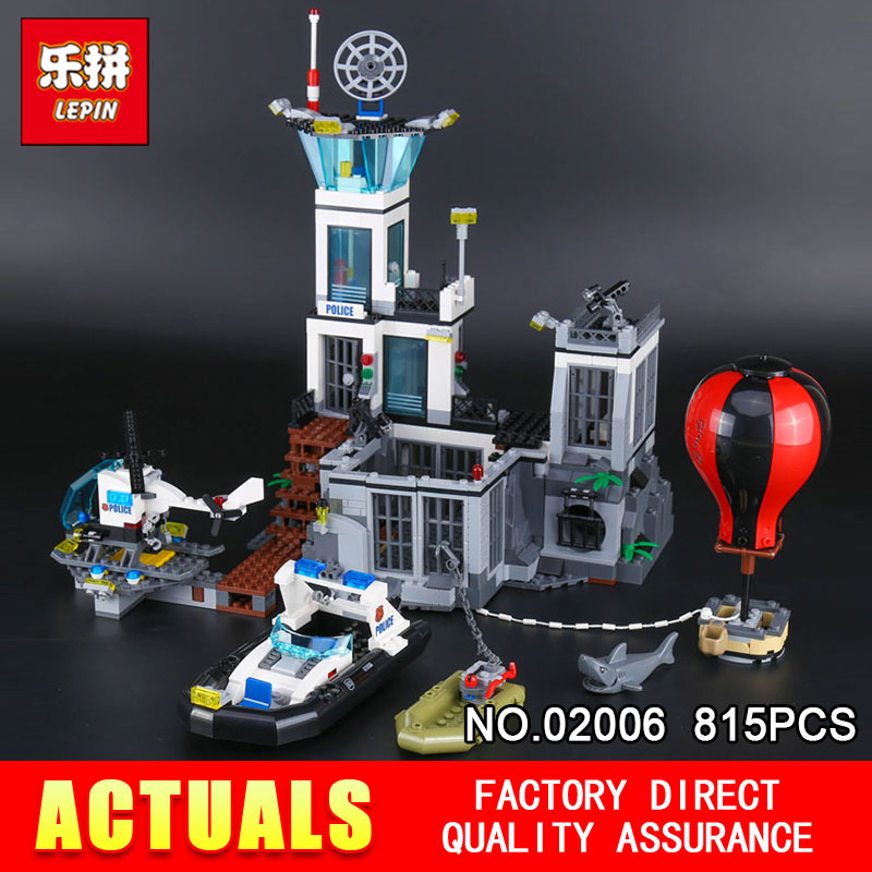Lepin 02006 815Pcs Genuine City Series The Prison Island Set 60130 Building Blocks Bricks Educational DIY Toy For Children Gifts lepin 02006 815pcs city police series the prison island set building blocks bricks educational toys for children gift legoings
