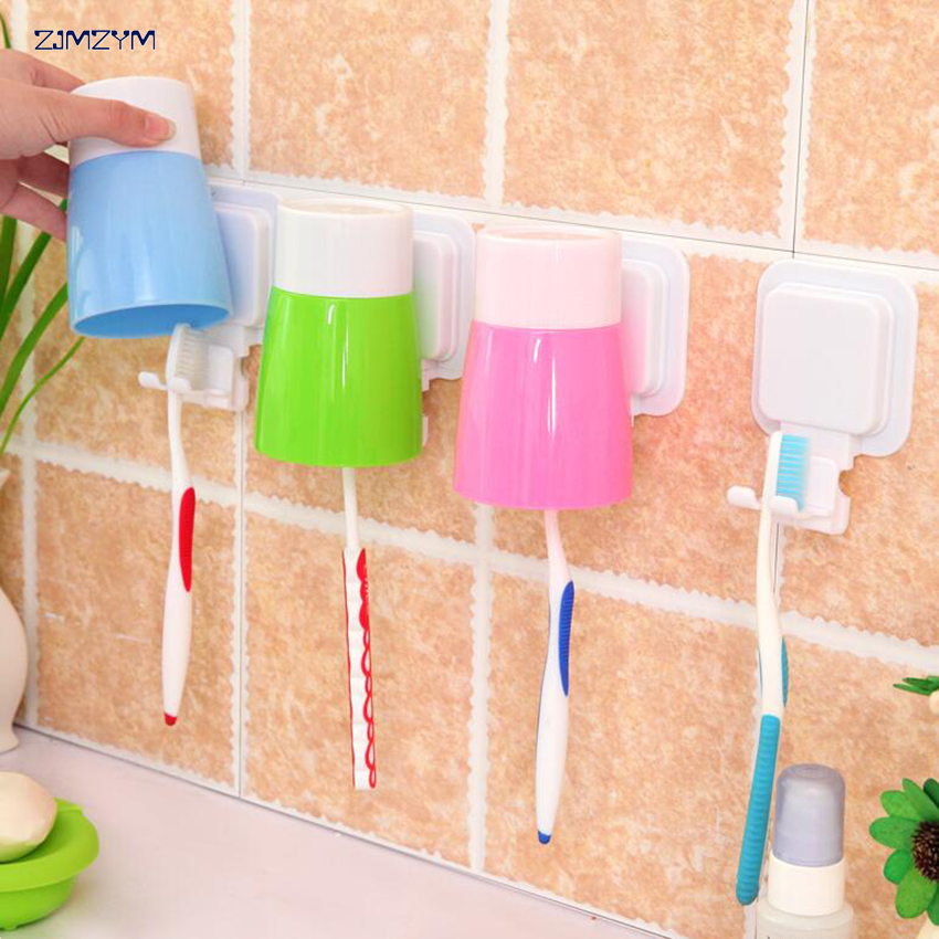 Wall Mount Paste Snap type Gargle Cup Toothbrush Holder Storage Bathroom Suite color random