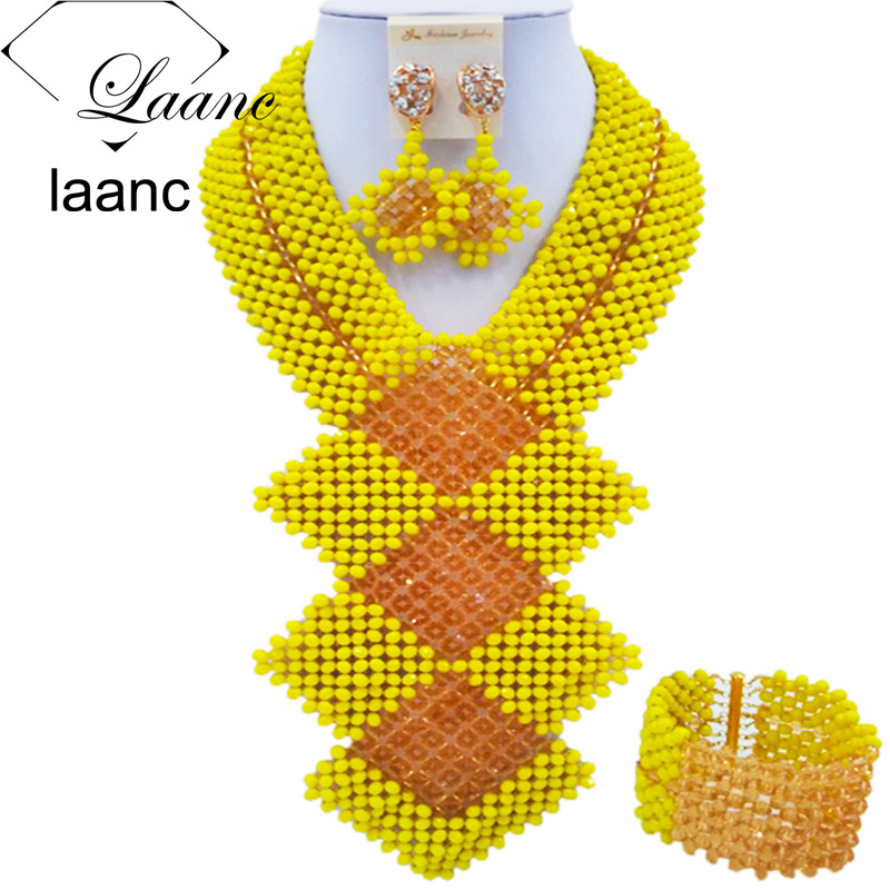 Laanc 2017 African Beads Jewelry Set Yellow and Gold Nigerian Wedding Necklace and Earrings Sets FKB001Laanc 2017 African Beads Jewelry Set Yellow and Gold Nigerian Wedding Necklace and Earrings Sets FKB001